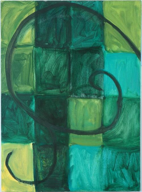 MARY HEILMANN<br />»Green Orla«, 1992<br />oil on canvas, 76 x 56 cm<br />