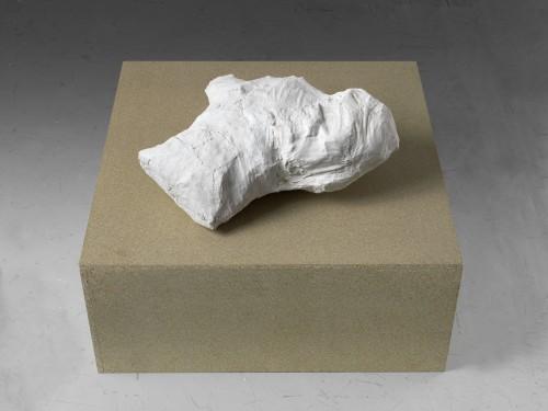 GREGOR HILDEBRANDT<br />»Schreibtischwolke«, 2017<br />plaster, multiple objects (invitation cards, envelopes, promotional leaflet, post cards …), 62 x 51 x 21 cm<br />