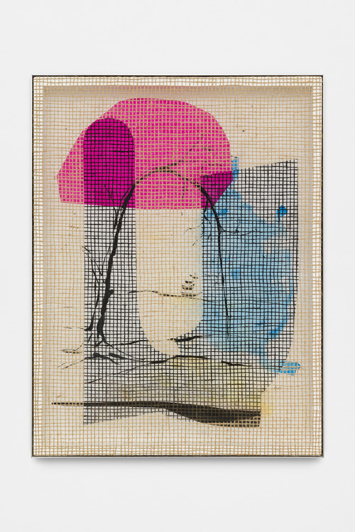 DAVID RENGGLI<br />»Desire / Painting / Nature (6)«, 2016<br />silk-screen print, acrylic on wood, jute net in aluminium shadow gap frame, 108 x 62 cm<br />