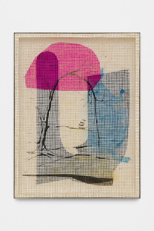 DAVID RENGGLI<br />»Desire / Painting / Nature (6)«, 2016<br />silk-screen print, acrylic on wood, jute net in aluminium shadow gap frame, 108 x 62 cm<br />