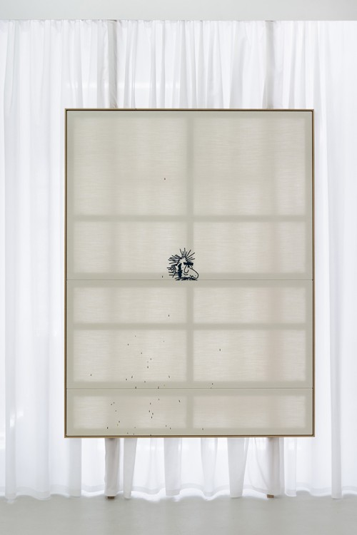 OLIVER OSBORNE<br />»>«, 2016<br />embroidered linen, oak frame, 214 x 164 cm<br />