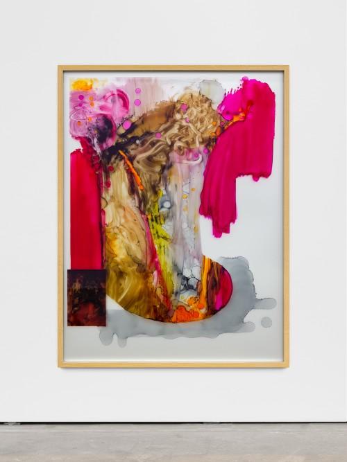 DAVID RENGGLI<br />»I LOVE YOU AGAIN (CUTOUT NR. 1)«, 2017<br />ink and acrylic behind glass, aluminium, 165 x 125 cm<br />