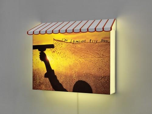 FRIEDRICH KUNATH<br />»I'm someone else now«, 2014<br />lightbox: aluminium, varnished, acrylic glass, adhesive foil, 59 x 75 x 19,5 cm<br />
