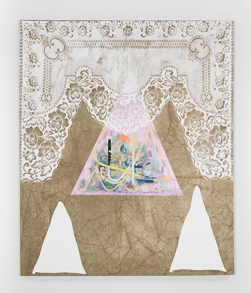 FLORIAN MEISENBERG<br /><i>From the series: Born* in West Berlin** (*Elastic Gentleman (maybe Generous)) (**of Dyed Fabrics, Social Manuals & Rechargeable Batteries)</i>, 2016<br />oil paint, charcoal, iridescent acrylic paint on dyed canvas, 183 x 148 cm<br />
