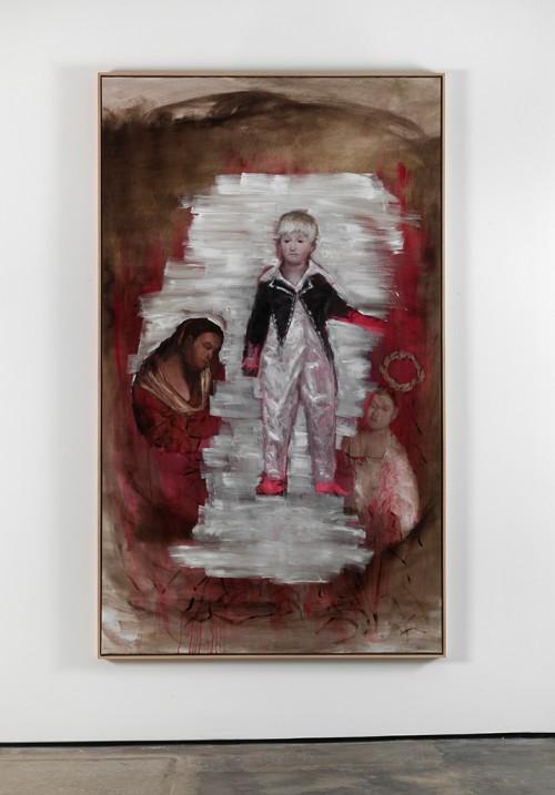 »Junge mit Figuren«, 2011<br />oil paint on canvas, 230 x 135 cm<br />