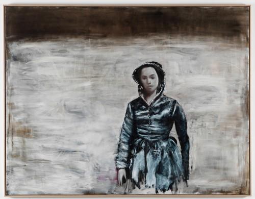 »Frau vor hellem Grund«, 2011<br />oil paint on canvas, 170 x 220 cm<br />