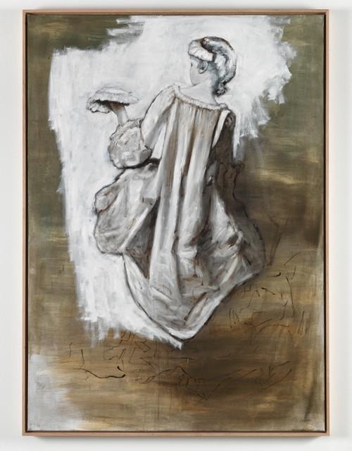 »Rückenansicht einer jungen Frau«, 2011<br />oil paint on canvas, 155 x 110 cm<br />