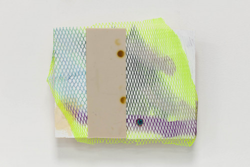 <i>Phil</i>, 2020<br />Acrylic on mesh, rubber, raw plug and polyfilla, 24 x 13 cm (9 1/2 x 5 in)<br />