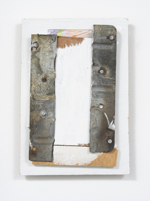 <i>Kira</i>, 2021<br />Lead, acrylic, oil, mirrored plate, wooden board, 24 x 16 cm (9 1/2 x 6 1/3 in)<br />