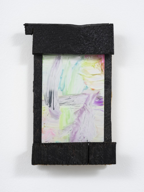 <i>Carla</i>, 2020<br />Bitumen on wood and acrylic on mirror, 23 x 15 cm (9 x 6 in)<br />