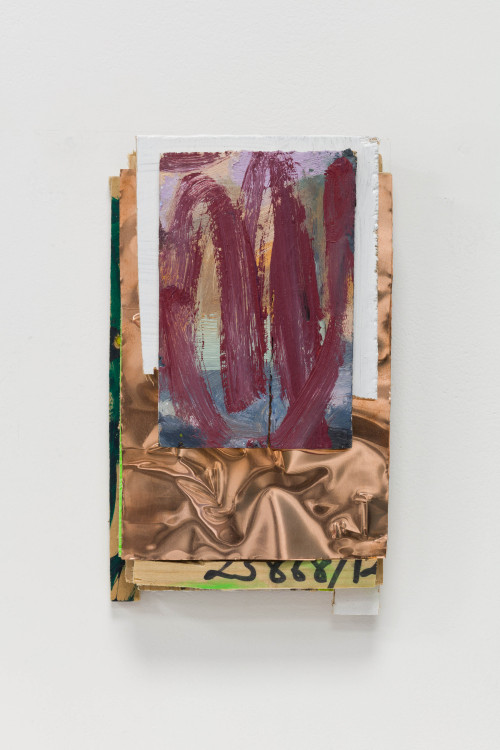 <i>Laura</i>, 2021<br />Oil on panel, marker and acrylic on wood and copperplate, 21.5 x 13 cm (8 1/2 x 5 in)<br />