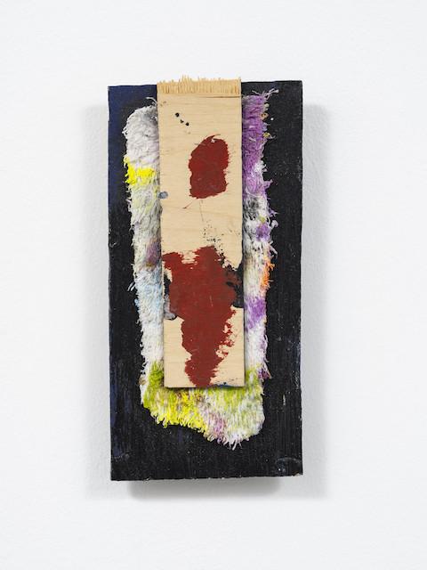 <i>Zara</i>, 2020<br />Oil, acrylic, wooden board, face towel, 20 x 14 cm (7 3/4 x 5 1/2 in)<br />