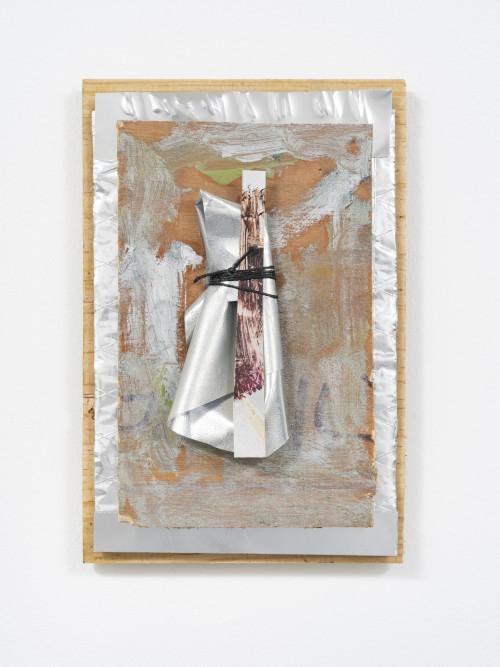 <i>Marianne</i>, 2020<br />Oil paint on board, cardboard, wax string, aluminum sheet, metallic fabric, mirror, 21 x 14.5 cm (8 1/4 x 5 2/3 in)<br />