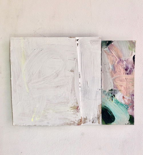<i>Hero</i>, 2020<br />Oil, acrylic and fluorescent powder on panel, 22 x 30 cm (8 2/3 x 11 3/4 in)<br />