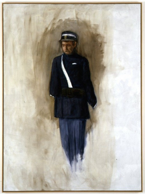 »Figur in blauer Uniform«, 2006<br />oil paint on canvas, 212 x 157 cm<br />