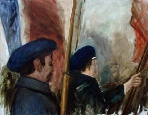 »Männer und Fahnen«, 2006<br />oil paint on canvas, 95 x 74 cm<br />