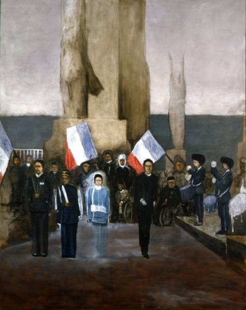 »Figuren vor Pfeiler II«, 2006<br />oil paint on canvas, 318 x 254 cm<br />