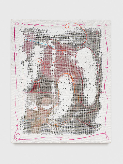 »Grid Painting (AKW / Drew Barrymore)«, 2017<br />Magazine print, acrylic paint on jute net, 74 x 60 cm<br />
