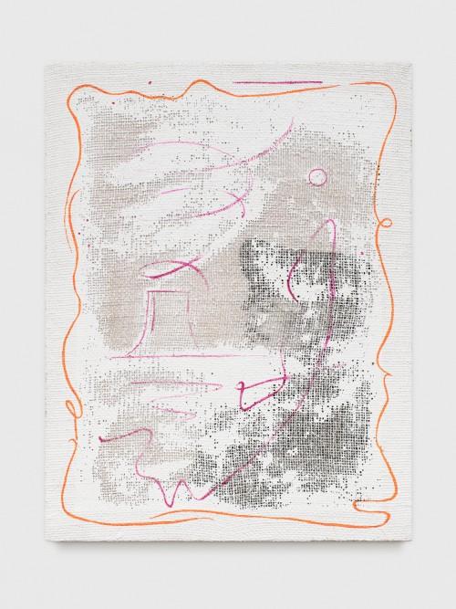 »Grid Painting (AKW / Tom)«, 2017<br />silk-screen print, acrylic on wood, jute net, 73 x 56 cm<br />