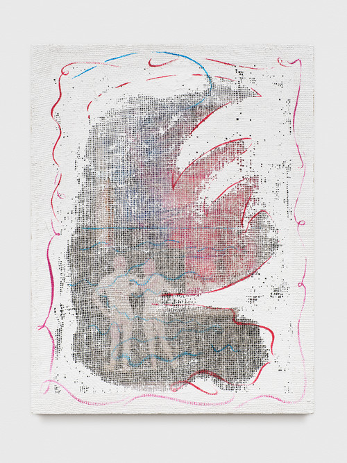 »Grid Painting (Man / Man / Beach)«, 2017<br />photo copy, spraypaint and acrylic paint on jute net, 74 x 56 cm<br />