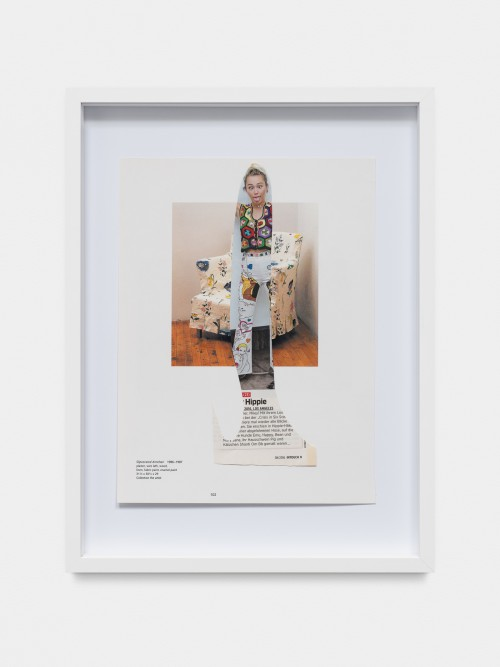 »College Notes: Miley / Gober«, 2017<br />collage made of magazine pages, 40 x 30 x 3.5 cm<br />