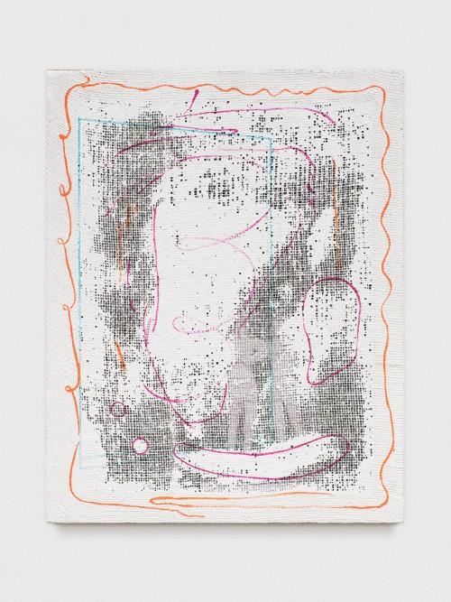 »Grid Painting (Men / AKW)«, 2017<br />photo copy, acrylic paint, jute net, 70 x 52 cm<br />