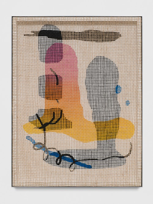 »Floorplan Desire Painting (Pin Pen)«, 2017<br />acrylic on wood, jute net in aluminium shadow gap frame, 113.5 x 86.5 cm<br />