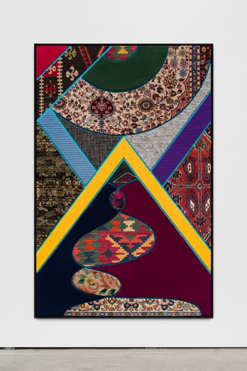 »Social Fabric, north«, 2018<br />carpet pieces on wood, 172 x 116 x 6 cm<br />