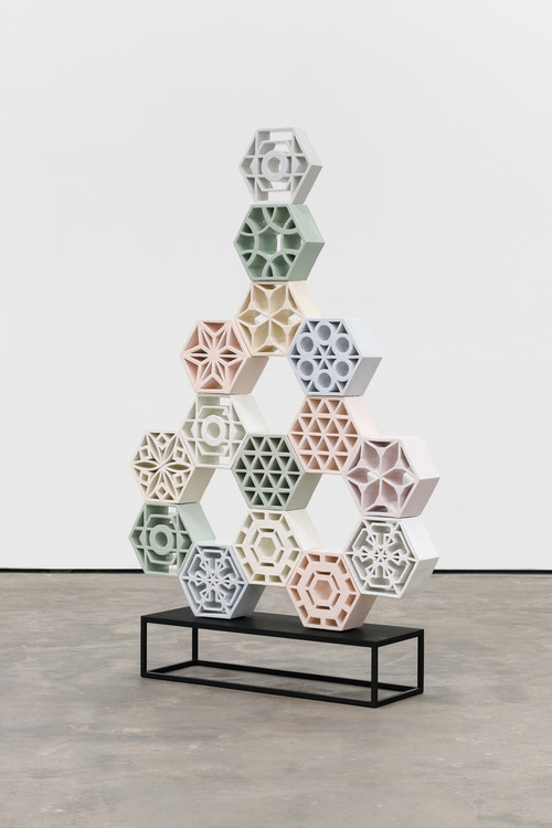 <i>Jali Arrow 2</i>, 2018<br />glazed ceramic, powder coated steel, 158 x 113 x 13 cm<br />