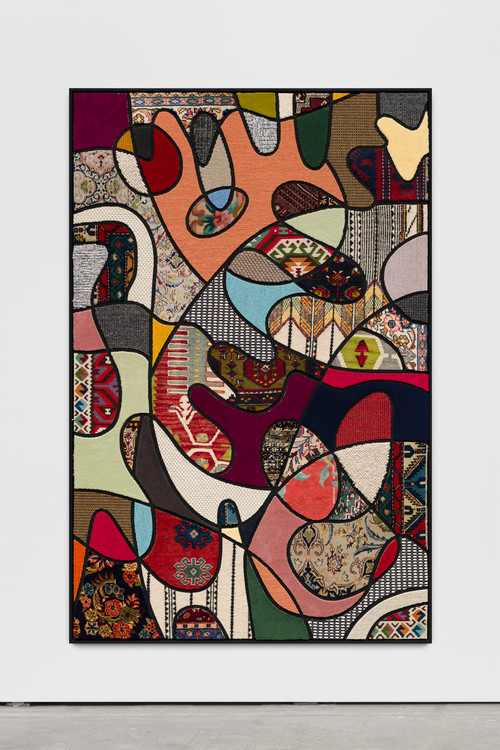 <i>Social Fabric, flower power</i>, 2018<br />carpet pieces on wood, 172 x 116 x 6 cm<br />