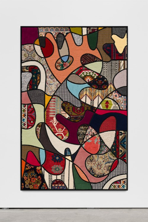 »Social Fabric, flower power«, 2018<br />carpet pieces on wood, 172 x 116 x 6 cm<br />