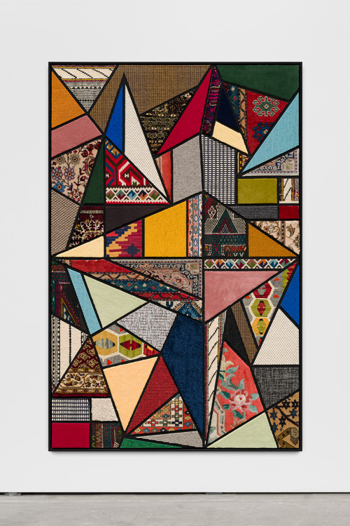 <i>Social Fabric, hang-glide</i>, 2018<br />carpet pieces on wood, 172 x 116 x 6 cm<br />