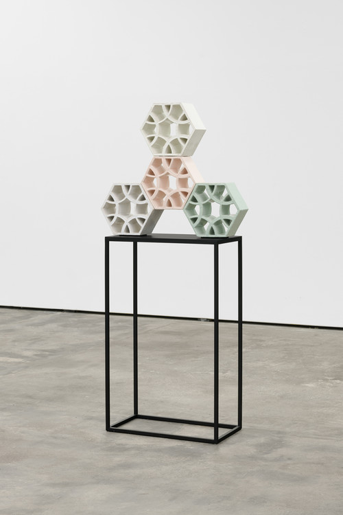 <i>Jali Spinner 1</i>, 2018<br />glazed ceramic, powder coated steel, 61 x 70 x 13 cm<br />