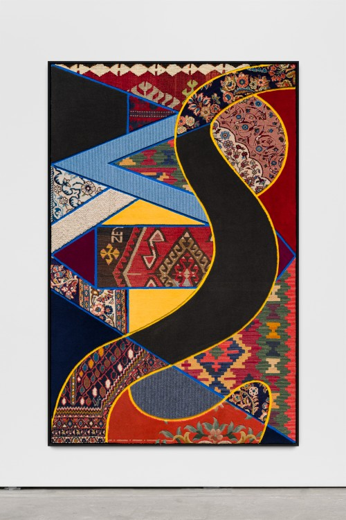 »Social Fabric, river«, 2018<br />carpet pieces on wood, 172 x 116 x 6 cm<br />