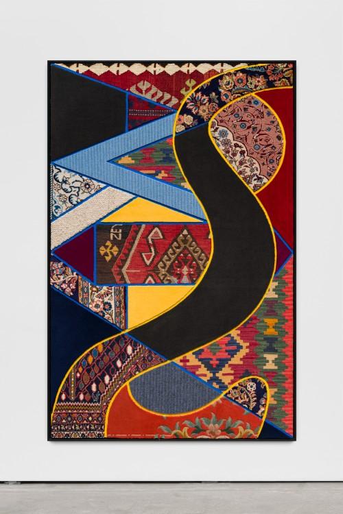 »Social Fabric, river«, 2018<br />carpet pieces on wood, 172 x 116 x 6 cm<br />