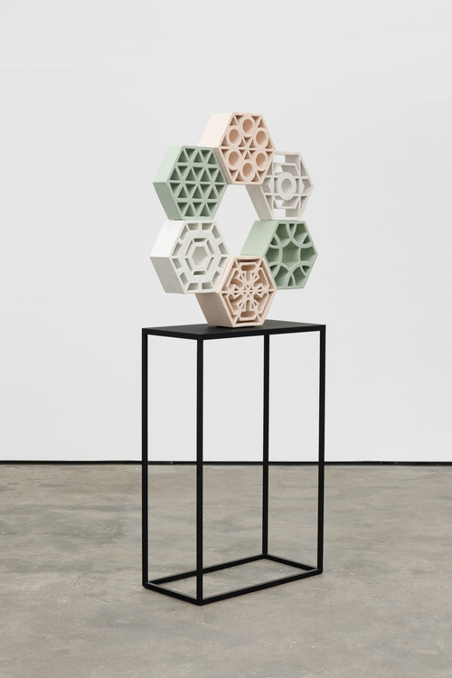 <i>Jali Ring 3</i>, 2018<br />glazed ceramic, powder coated steel, 74 x 71 x 13 cm<br />