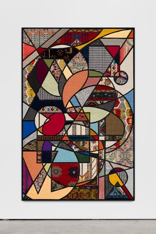 »Social Fabric, cosmos«, 2018<br />carpet pieces on wood, 172 x 116 x 6 cm<br />