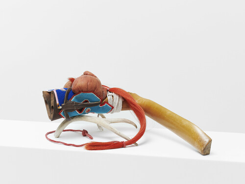<i>Stick-Horse</i>, 2021<br />Wood, horsehair, leather, rope, chenille, beads, tape, deer antler, 30 x 80 x 30 cm<br />