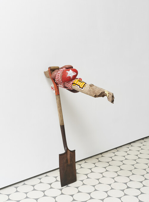 <i>Stank-Horse</i>, 2021<br />Metal, wood, plastic, chenille, beads, leather, rope, 100 x 80 x 25 cm<br />