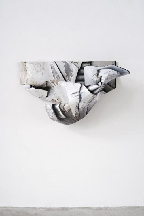 »Danke«, 2019<br />aluminium, digital print, stainless steel, coin, 53 x 92 x 42 cm<br />