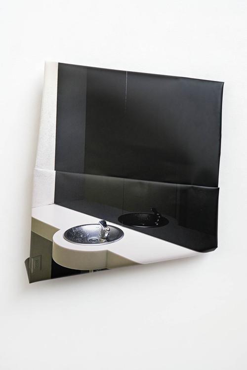 <i>Spiegel</i>, 2017<br />aluminium, digital print, stainless steel, 118 x 103 x 17 cm<br />