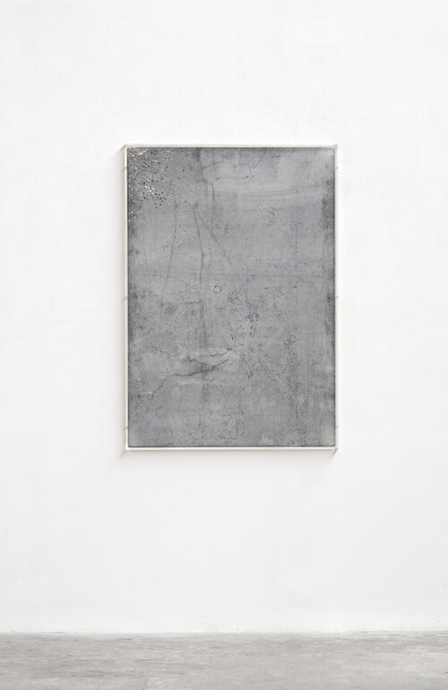<i>Alles Nieten</i>, 2008<br />steel panel, rivets, plexi glass, 133 x 93 x 5 cm<br />