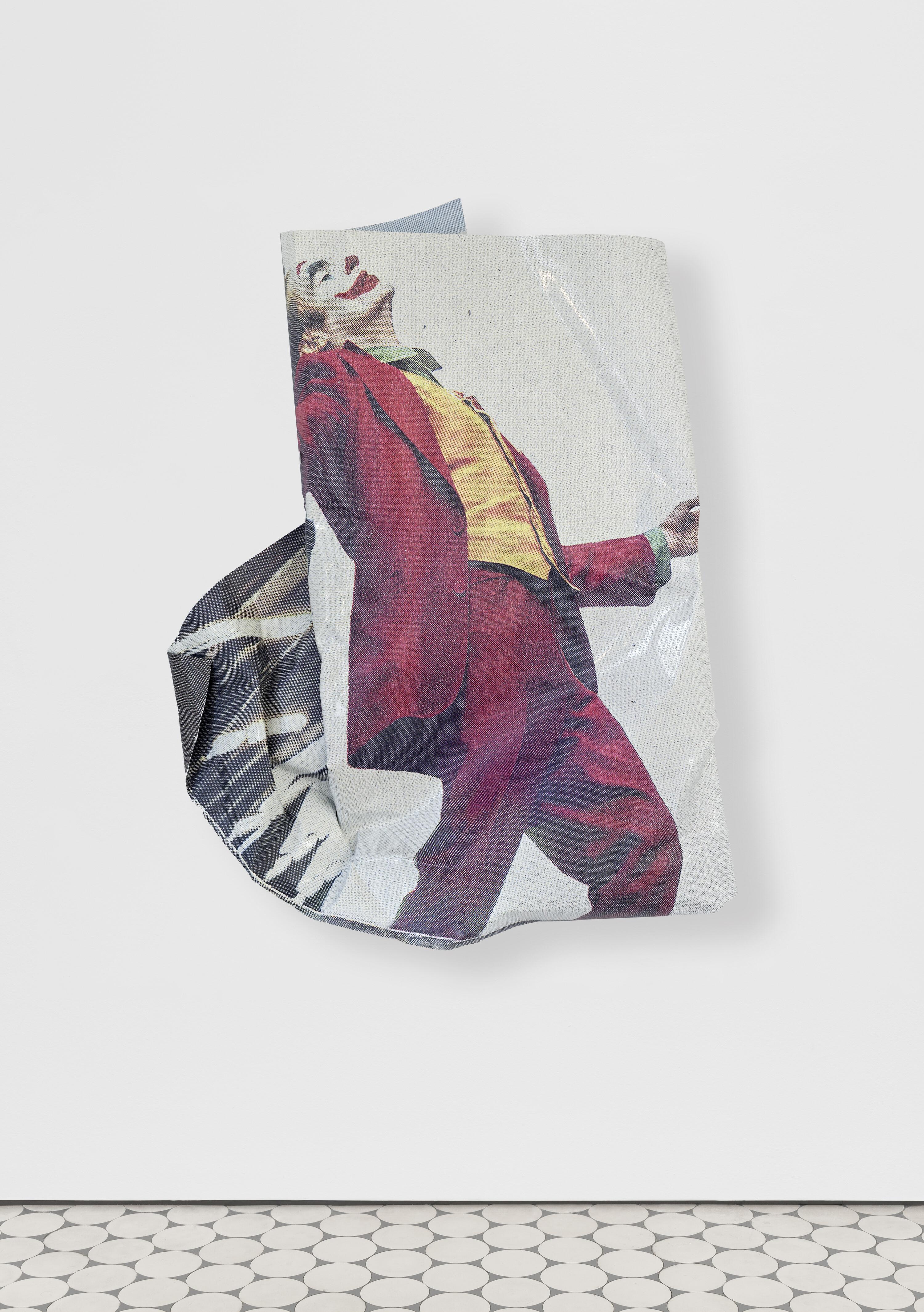 <i>Joker</i>, 2020<br />aluminium, stainless steel, digital print, 127 x 110 x 20 cm<br />