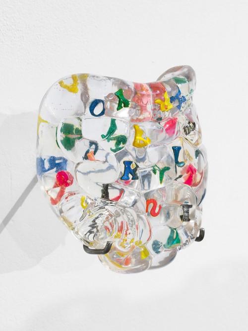 »Learning Organ (intestine) ABC / typo«, 2018<br />foam and wooden ABC, resin, 10 x 18 x 20 cm<br />