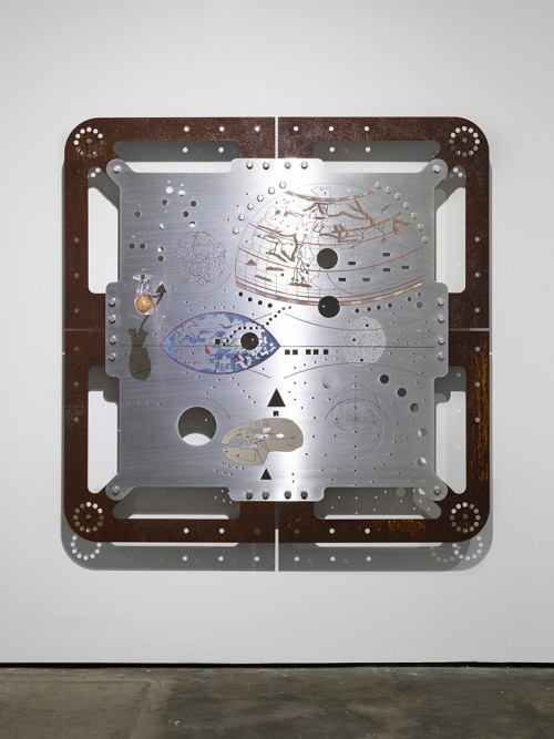»Ore Orientation: modular mapping system (Plate 1: orbis pole)«, 2017<br />digital print on punched and embossed aluminium, rusted steel, 180 x 180 cm<br />in cooperation with Genghis Khan Fabrication Co.