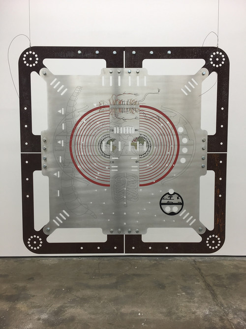 »Ore Orientation: modular mapping system (Plate 4: geocentric bodies)«, 2017<br />digital print on punched and embossed aluminium, rusted steel, 180 x 180 cm<br />in cooperation with Genghis Khan Fabrication Co.