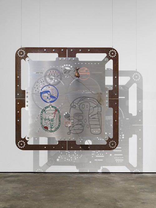 »Ore Orientation: modular mapping system (Plate 5: eyelids albi)«, 2017<br />digital print on punched and embossed aluminium, rusted steel, 180 x 180 cm<br />in cooperation with Genghis Khan Fabrication Co.
