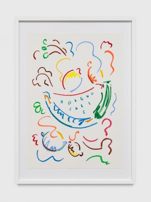 SOL CALERO<br />»Dibujo, 21«, 2017<br />oil pastel on paper, 60 x 42 cm<br />