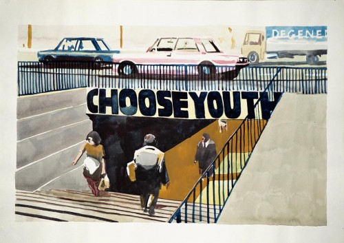 WAWRZYNIEC TOKARSKI<br />»CHOOSE YOUTH«, 1993<br />watercolor on paper, 43 x 61 cm<br />