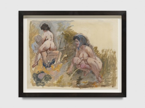 GEORGE GROSZ<br />»Erotic Scene. The Painter and Model and Hermaphrodit, Cape Cod«, 1940<br />mixed media, oil, watercolor and chalk paint over pen on vellum, 56 x 69 x 4,5 cm (framed)<br />